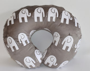 Elephants on Taupe  Cover -  beige, gender neutral, nursing pillow cover, woodland nursery, boy , girl , safari