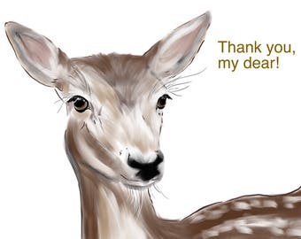 "Deer thank you card - card size 5.5""x4"""