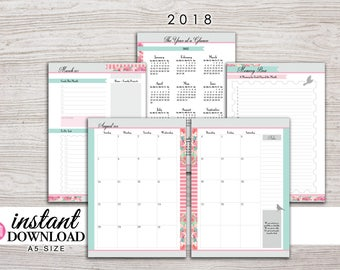 A5 Planner Printable - 2018 Monthly Planner - Filofax A5 - Kikki K Large - Design: Flirty Girl