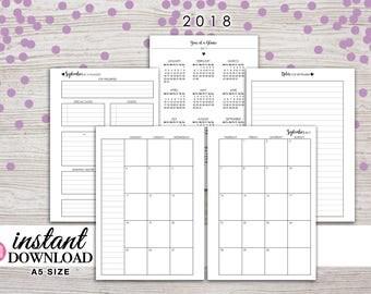 A5 Planner Printable - 2018 Monthly Planner - Filofax A5 - Kikki K Large - Design: Wanderlust