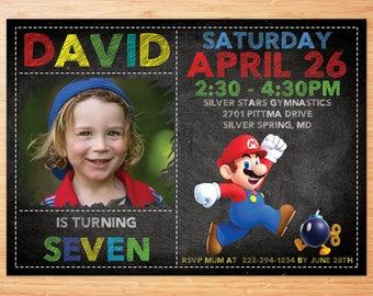 Super Mario Birthday Invitation, Chalkboard Super Mario Custom Card, Mario Bros Party Invites, Super Mario Digital Printable Invitation