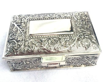 "Silver Plated Trinket Box, Circa 1980, Ideal Gift, Trinket Pot, Pill Box, Space for Engraving, Black Velvet Lining, 2.5"" x 2"", Immaculate"