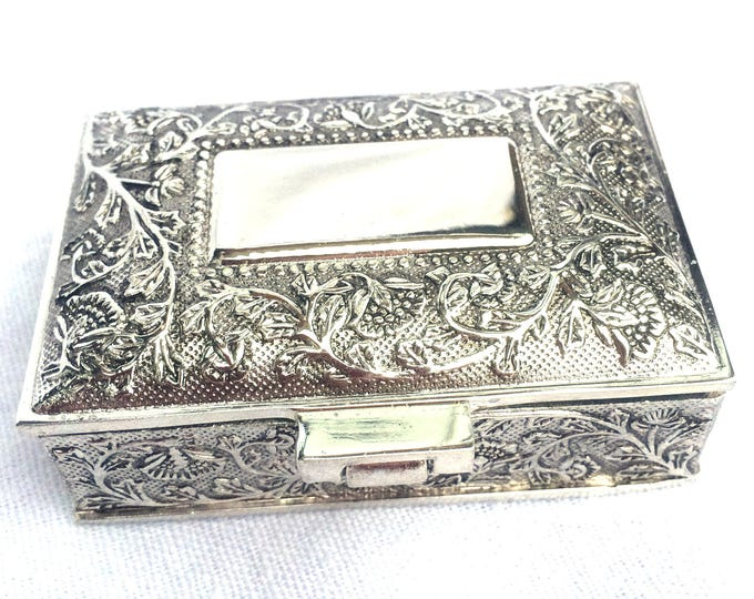 """Silver Plated Trinket Box, Circa 1980, Ideal Gift, Trinket Pot, Pill Box, Space for Engraving, Black Velvet Lining, 2.5"""" x 2"""", Immaculate"""