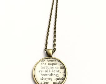 RESILENT Vintage Dictionary Word Pendant