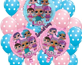 25PC Latex/Foil Set Shiny PINK BLUe LOL Surprise Doll Birthday Balloons girls Party Foil