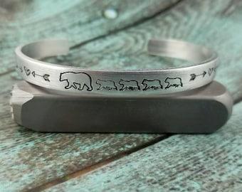 Bear family cuff, bear family, cuff bracelet, handstamped cuff bracelet, mama bear cuff, gift for mom, gift for mother, gift for mama bear