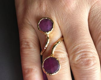 Gemstone ring, Agate ring, Double stone ring, Adjustable ring, Purple ring