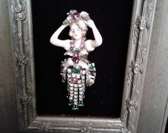 Flower Lady Vintage Framed Jewelry Art