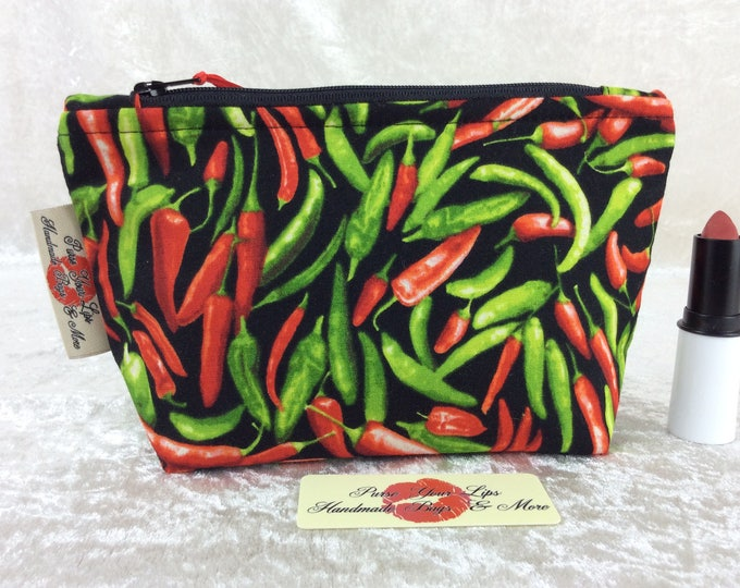 Chillis Peppers Zip Case Bag Pouch fabric Handmade in England