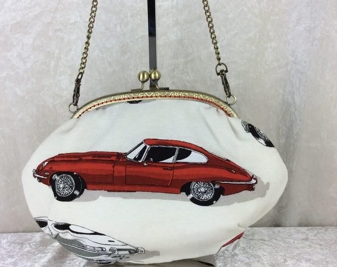 E-Type Jaguar Grace frame handbag purse bag clutch fabric handmade in England