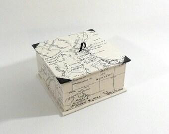 World map - black and ivory jewel box pattern box