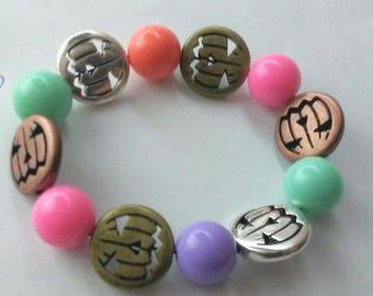 Pastel Goth Bracelet - Creepy Cute Jewelry - Pumpkin Jack o Lantern - Halloween - Pastel Kawaii Goth - Kandi