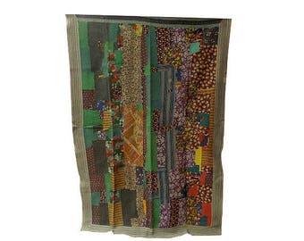 kantha quilt Vintage Sari Reversible Gudri, Kantha Stitched Blanket,Ethnic Cotton Quilt