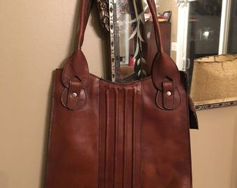 Vintage Brown Leather Handbag Pocketbook