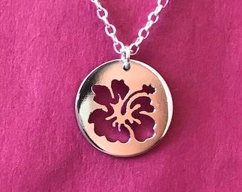 Hand pierced Hibiscus Pendant-Hibiscus Jewelry-Flower Jewelry