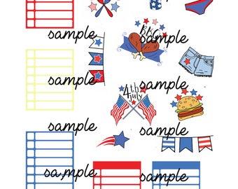 4th july printable planner sticker set