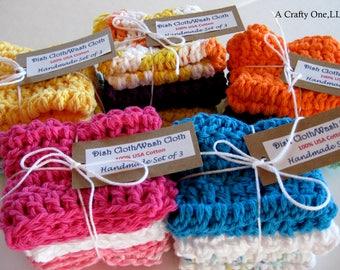 Dishcloths, 100% USA Cotton Washcloth, Eco Friendly, Crochet Wash Cloth Set of 3, Baby Washcloth, Kitchen Wash Cloth, Handmade Face Cloths