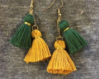 Green and Gold Tassel Earrings
