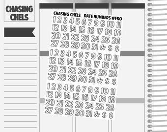 Date Numbers #FK0 Premium Matte Planner Stickers