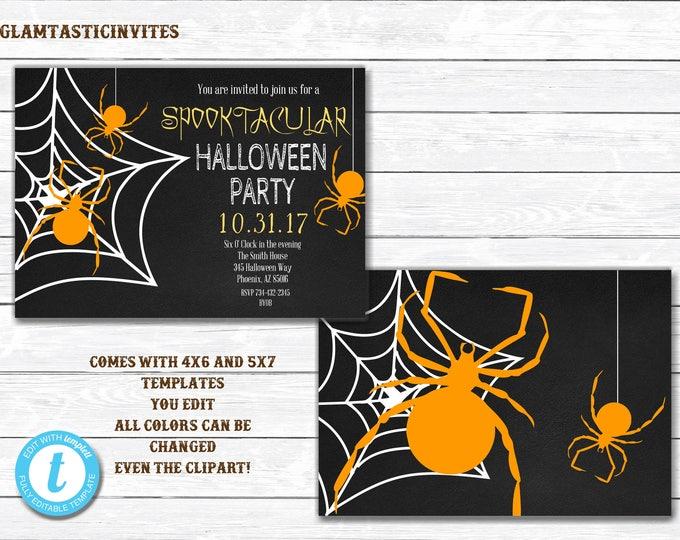 Halloween Invitations, Spooktacular Halloween Invitation, Halloween Party Invitations, You Edit, Halloween Template, Halloween, DIY, Fall