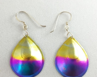 75% Off Sale Vintage Titanium Heat Treated Rainbow Earrings Medium, #TEaa-1