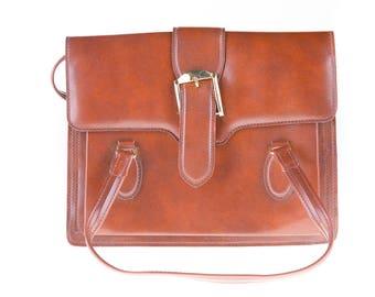 60's Vintage Dark Cognac Leather Handbag, All Day Bag