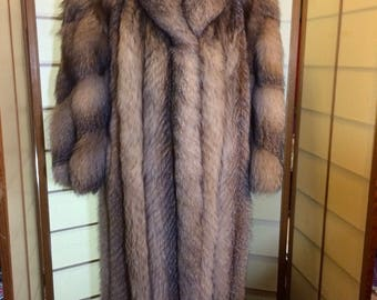 Full length Silver Fox Coat Size 8-10 Vintage Chubby 80's Style Coat with Spiral Sleeves