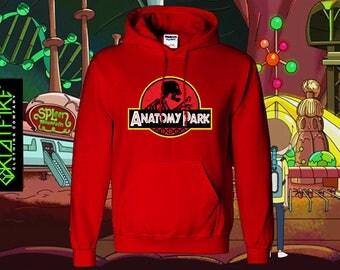 ANATOMY PARK HOODIE | Rick & Morty Inspired Anatomy Park Logo on Kangaroo Pocket Gildan Heavy Weight Hoodie | Many Colours Available !