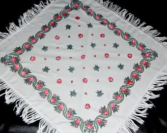 White floral shawl piano shawl Russian shawl scarf fringed shawl bohemian shawl vintage white scarf shawl with tassels boho shawl fringe