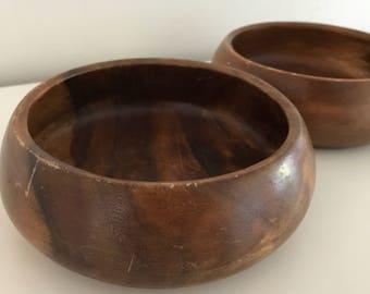Vintage Wood Bowls, set of two | wood bowls, wood bowl set, wooden bowls, key dish, wooden salad bowl, serving dishes, wooden bowls