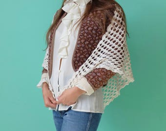 Delightful White Knit Shawl, Summer Poncho One Size, Gift Idea, Outerwear, Hippie, 1970s 1960s