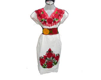 Mexican Dress Embroidered Dress Boho Dress Festival Dress Summer Dress Party Dress Bright Floral Hippie fits small to Medium vtg M23