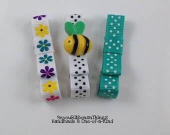 Cute Bee | Flowers | Hair Clips for Girls | Toddler Barrette | Kids Hair Accessories | Grosgrain Ribbon | No Slip Grip