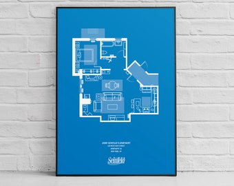 Seinfeld blueprint etsy seinfeld apartment floor plan print seinfeld art seinfeld poster wall art malvernweather Image collections