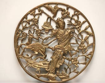 Vintage Large Orntamental Geisha & Deer Round Brass Wall Decor | Handcrafted Open Asian Design Round Wall Plaque |Rustic Modern Asian Decor