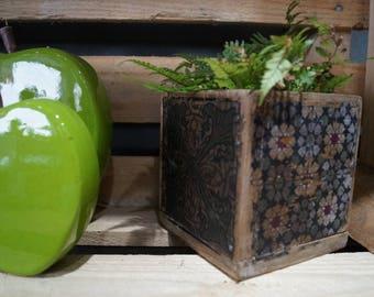 wood planter, cement tiles