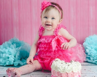 Summer Hot Pink Lace Ruffle Romper For Baby Girls First Birthday Cake Smash Wedding Outfit Family Photo Shoot Vintage Inspired