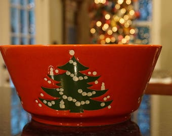 Vintage Waechtersbach Christmas Tree 9 Inch Bowl/ German Christmas Pottery/ Holiday Bowl/ European Christmas/ Country Christmas