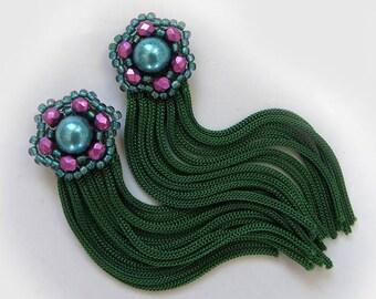 Green pink Tassel Fringe Earrings, Green soutache Earrings, Lightweight Earrings, Modern Green Earrings, Beauty gift, clothing gift