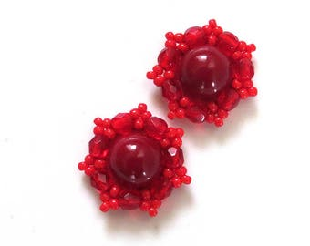 Small stud earrings Tiny earrings Red stud earrings Red small earrings Soutache earring Red post earrings Dainty earrings studs Red earrings