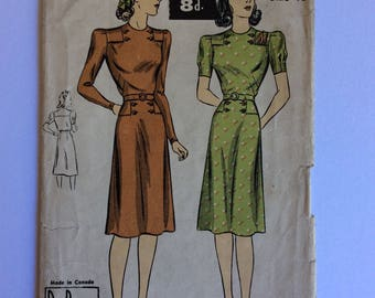Vintage 40s Du Barry Sewing Pattern 2568B Size Bust 36 inches Vintage Dress Sewing Pattern - Vintage Hollywood Dress
