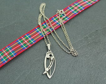 Ola Gorie sterling silver necklace small Rennie Mackintosh style pendant Orkney Isles Scotland inch 18 chain Scottish jewellery Glasgow rose