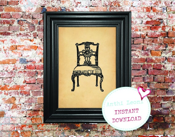 Decorative Antique Chair Instant download | Vintage Old Paper Print Design | Old Chair Book Illustration | Just Download and Print #0006