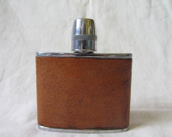 1970's stainless steel leather covered hip flask with tot/measure cap, 4 oz. pocket flask, spirit flask, gentleman's accessory,