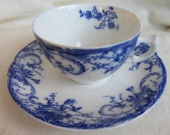 Pretty antique Woods flow blue duo Staffordshire semi porcelain tea cup and saucer. Tea party, cottage or farmhouse home decor