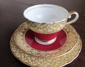 Aynsley bone china tea cup,saucer, plate. Tea party, bridal shower, Vintage English bone china teacup trio. Red and cream , gilding