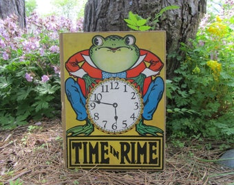 """Vintage Children's Book """"Time in Rime"""" Hardcover """"Crownfield"""" Illustrations Anthropomorphic Frog """"Clock"""" Book Art """"Kresge"""" Family Library"""