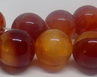 Red 16mm Round Natural Agate Gemstone Beads (22 piece)
