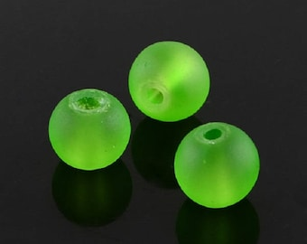 """Frosted Green 10mm Round Glass Beads (30"""" Strand)"""