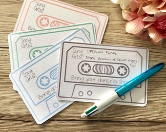 Song request cards, rsvp song request, cassette request cards, play my song cards, dj song request cards, wedding stationery
